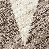 Teppich-Home Kurzflor Teppich Wohnzimmer Stern Muster Meliert Rot. Schwarz, Beige Grau Pflegeleicht, Farbe:Beige, Maße:80x150 cm