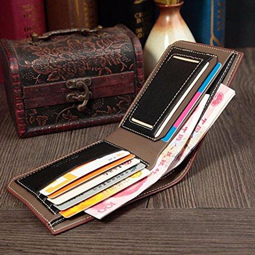 Koly_Uomini borsa del portafoglio della moneta Aperto Breve Portafoglio Card Holders borsa (Blu) Caffè