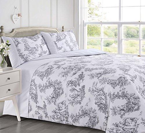 Velosso Vintage Shabby Chic Waffeleisen Premium mit Bedruckt toille Grau/Silber Bettwäsche Set Bettbezug Set Französisch, Weiß, Super King