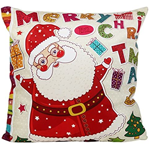 GillBerry 1PC Navidad Christmas Santa Claus Funda de almohada Sofá de la cintura Throw Cojín Decoración