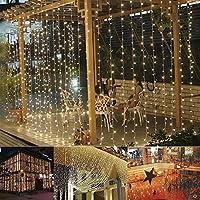 B-right Cortina de Luces, 300 LEDS, Blanco Cálido, 8 Modos de Luces, Resistente al Agua,Cortina Luces LED para Decoración de Ventana, Patio, Jardín,Bar, Navidad, Día de San Valentín, Boda,etc