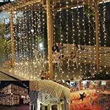 B-right Cortina de Luces, 300 LEDS, Blanco Cálido, 8 Modos de Luces, Resistente al Agua,Cortina Luces LED para Decoración de Ventana, Patio, Jardín,Bar, Navidad, Día de San Valentín, Boda,etc
