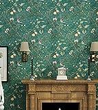 Aensw Retro Country Wallpaper Non-Woven 3D Stereo Garten Schlafzimmer Wohnzimmer Sofa Tv Hintergrund Tapete, dunkle Grün unten