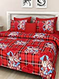 #5: Homefab India 140 TC 3D Floral Double BedSheet with 2 Pillow Cover - MultiColor