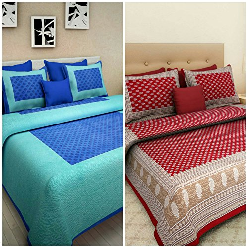 Suraaj Fashion Cotton Combo Bed Sheet (100% Cotton Combo Set Of 2 Double Bedsheet With 4 Pillow Covers)