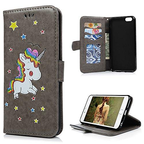 MAXFE.CO Schutzhülle Tasche Case für iPhone 6 Plus/6S Plus PU Leder Flip Tasche Cover Prägung Einhorn Muster im Ständer Book Case / Kartenfach Rose Rot Grau