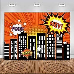 Mehofoto Superhero Backdrop 7x5ft Paisaje urbano Cartoon Building Fotografía de fondo