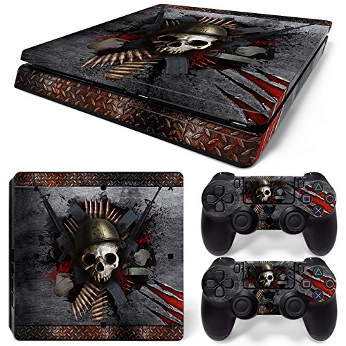 46 North Design PS4 Slim Vinyl Decal Autocollant Skin Sticker Skull Pour Playstation 4 Slim console + 2 Dualshock Manette Set Autocollant