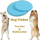 BUYGOO Hunde Frisbee Scheibe Hundespielzeug - 2PCS Gummi Hunde Training Frisbee 100% Weich Soft Rubber Disc mit S/L Größe (18cm/23cm) für mittelgroße/große Hunde Interaktives Spielzeug