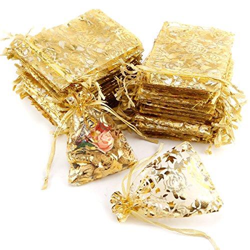 100PCS Organza Jewelry Candy Geschenk Säckchen Hochzeit Party Xmas Decor Gastgeschenken (129, Golden)