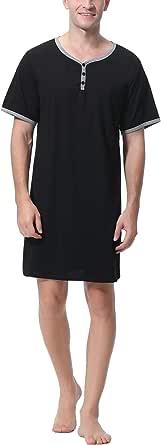 Sykooria Mens Nightshirt Short Sleeve Pajama Top Nightwear Henley Shirt Button Down Sleepwear Lightweight Cotton Soft Nightgown for Home Hospital