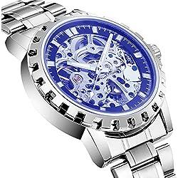 BELLESIE Waterproof Casual Mens Stainless Steel Skeleton Automatic Mechanical Wristwatch
