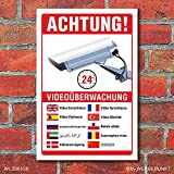 Schild Videoüberwachung Warnschild Hinweisschild 10 Sprachen 3 mm Alu-Verbund 300 x 200 mm