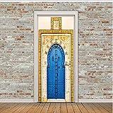 Fqz93in Aufkleber Der Tür 3D Blaue Eisentor Wandaufkleber DIY Muralpvc Wasserdichte Tür Aufkleber Tapete Schlafzimmer Wohnkultur Poster