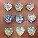 MajorCrafts® 60pcs 12mm Crystal AB Flat Back Heart Shaped Resin Rhinestones