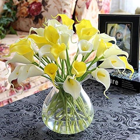 Ineternet 10pcs Calla Lily artificielle Faux soie Fleurs mariage Bouquet parti maison décoration (Jaune)