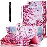 Slynmax Leder Tasche Schutzhülle für HTC Desire 626G 5 Zoll Hülle Flip Wallet Case Hand Strap Lanyard Brieftasche Lederhülle Ledertasche Handyhülle Klapphülle Cover(Plum Blume Blossom,Pink)
