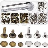Outus Rivetti Cap Rivetti Metallici Bottoni a Scatto con Fissaggio Tool Kit per Artigianato in Pelle Riparazioni Decorazione, 3 Formati, 60 Set (Multicolore B)