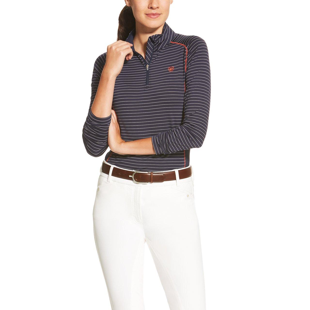 Ariat reitshirt Tri Factor 1/4Zip, Unisex, navy/white stripe, XL
