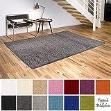 Shaggy-Teppich | Flauschige Hochflor Teppiche für Wohnzimmer Küche Flur Schlafzimmer oder Kinderzimmer | Einfarbig, schadstoffgeprüft, allergikergeeignet (Dunkelgrau, 120 cm rund)