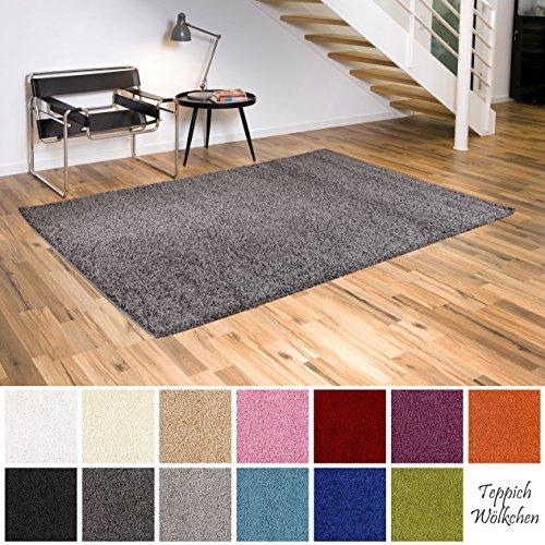Shaggy-Teppich | Flauschige Hochflor Teppiche fürs Wohnzimmer, Esszimmer, Schlafzimmer oder Kinderzimmer | einfarbig, schadstoffgeprüft, allergikergeeignet (Dunkelgrau, 40 x 60 cm)