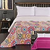 DecoKing 77160 Tagesdecke 170 x 210 cm rosa violett weiß bunt anthrazit Bettüberwurf zweiseitig colourful pink white violet Steppung Bibi