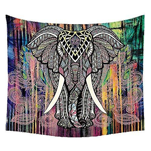 Umiwe Tapiz de Mandala de Elefante,Tapiz de Pared de 150 * 130CM Bohemio,Tapiz estético de Piel de melocotón,Mural de impresión artística Colorida decoración de Tapiz Indio.(6 Colores)