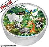 Anglesit Tiere pre-cut Dschungel-B, IX. Mit 7-Zoll-/18cm mit Dessert-/Wafer Papier Geburtstag Party, Sommer Kids Kinder African Safari, Dekoration