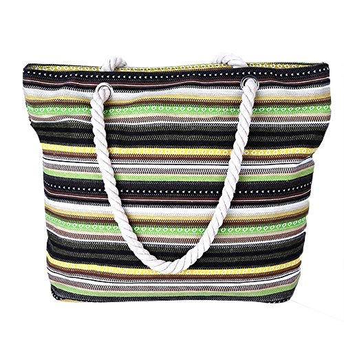 CHEN Wasserdichte Strandtasche Damensommerstrandhandtasche dreifarbige gestreifte...
