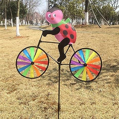 Dairyshop 3D Animal on Bike Windmill Wind Spinner Whirligig Lawn Yard Garden Home Decor (Beetle)