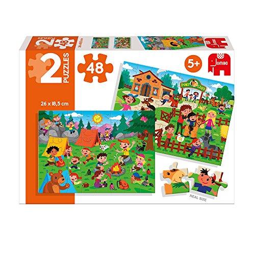 Diset- Puzzle Horse Riding & Picnic (2 x 48 pces) Granja y Acampada 2x48 Piezas, (69984)