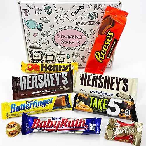 Mini Cesta Chocolate Americano| Surtido incluye Reeses Hershey Butterfinger | Golosinas para Navidad Reyes o para regalo | En una Caja de Regalo del Caramelo Retro