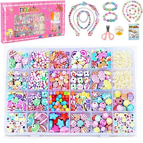 DIY Perlen Set zum auffädeln Kinder Schmuck Schnur Armbänder Selber Machen Freundschaftsarmbänder Halsketten Kunsthandwerks Buchstaben Perlenschmuck Schmuckbasteln, 24 Farben