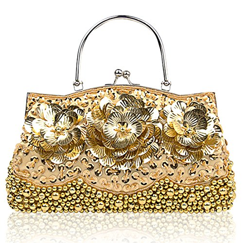 HT Sequined Clutch Bags, Poschette giorno donna Gold