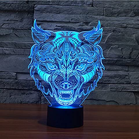 3D Illusion Lamp Jawell Wolf Effect Night Light 7 Colors with Touch Switch USB Cable Nice Gift Home Office Decorations