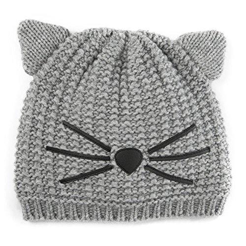 SIGGI Graue Warme Damen Beanie Mütze Katze Ohr Mütze Strickmütze Für Mädchen Wintermütze