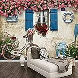 HONGYAUNZHANG Fahrrad Blume Benutzerdefinierte Fototapete 3D Stereoskopischen Wand Wohnzimmer Schlafzimmer Sofa Hintergrund Wandmalereien,230Cm (H) X 310Cm (W)