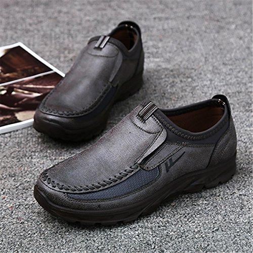 Gracosy Mocasines Casuales De Hombre Zapatos De Trabajo Smart Classic Office Mocasines De Cuero Con Cordones Resbalón En Mocasines Planos Ocasionales Respirables Mocasines Mocasines Zapatos Gris