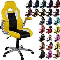 """RACEMASTER® """"GT Series ONE"""" - Silla de escritorio/Gaming silla de despacho - Mecanismo de inclinación y elevación Homolación SGS - colore Amarillo/Negro/Blanco silla de oficina"""