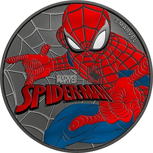 Power Coin Spiderman Marvel Ruthenium Farbig 1 Oz Silber Münze 1$ Tuvalu 2017 -