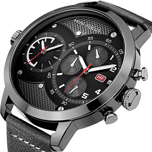 EASTPOLE Herren Armbanduhr, XXL Großes Zifferblatt Doppelbewegung Minute Zweite Chrono Datum Lederband WMB007