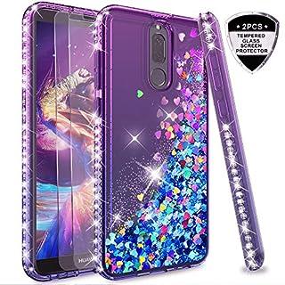 LeYi Hülle Huawei Mate 10 Lite Glitzer Handyhülle mit Panzerglas Schutzfolie(2 Stück),Cover Diamond Rhinestone Bumper Schutzhülle für Case Huawei Mate 10 Lite Handy Hüllen ZX Gradient Purple Blue