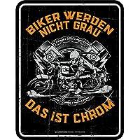Original RAHMENLOS® Blechschild für den etwas älteren Biker: Biker werden nicht grau, das ist Chrom!