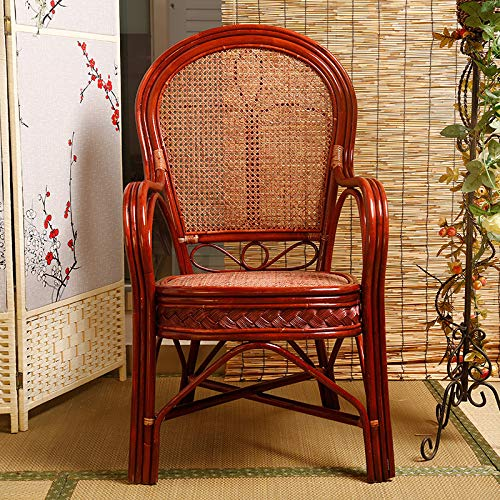 seeksungm Chair, Home Handmade Natural Plant Rattan Woven Chair Environmentally Friendly, Breathable and easy to clean, Casual table and Chair Set Claret
