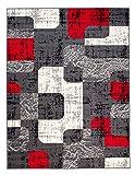 TAPISO Tappeto Salotto Moderno – Colore Grigio Scuro Disegno Quadrato di Inspirazione Nuovo – Morbido – Facile da Pulire – Prezzo Economico 80 x 150 cm