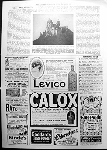 old-original-antique-victorian-print-pena-castle-cintra-adverts-levico-calox-koh-i-noor-pencil-1911-