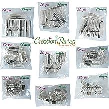 Création-Perles - Lote mixto de 180pinzas, conectores, agarres, enganche y cierres para pulseras, collares o cintas de 9tamaños