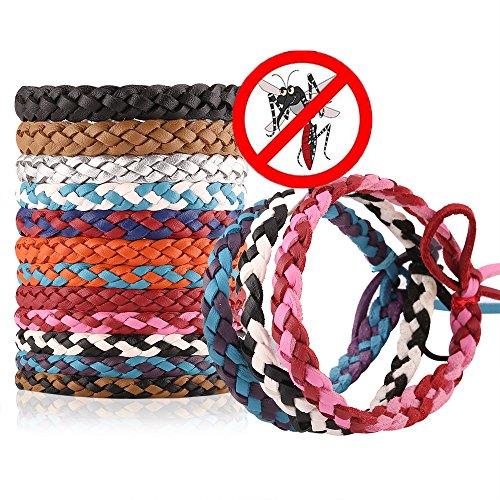 Daaseefee Mückenschutz-Armband, 12 Stück, stilvolles Lederband, Langer Schutz gegen Mücken und Insekten, für Kinder, Babys, Erwachsene, Männer und Frauen - DEET-frei, 12 Pack