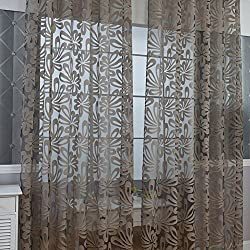 Fastar cortinas para habitacion - Filtros de luz Cortinas translúcidas de flores Cortinas de cortina de ventana Cortinas de bolsillo (100x250cm, Café)