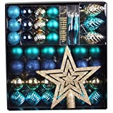 50 tlg. Set Weihnachtskugeln Baumschmuck Weihnachtsbaum Tanne Deko Baum Kugeln, Farbe:Blau_Türkis